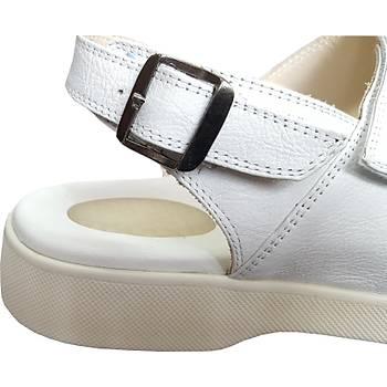 Silikonlu Topuk Dikeni Sandaleti Erkek Beyaz EPT14AB