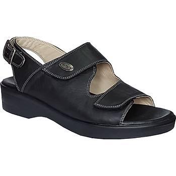 Ortopedik Deri Yazlýk Sandalet Bayan Siyah ORT-07AS