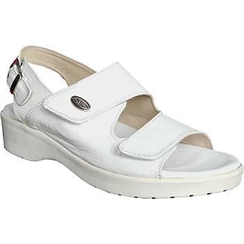 Ortopedik Deri Sandalet Bayan Beyaz ORT-07AB