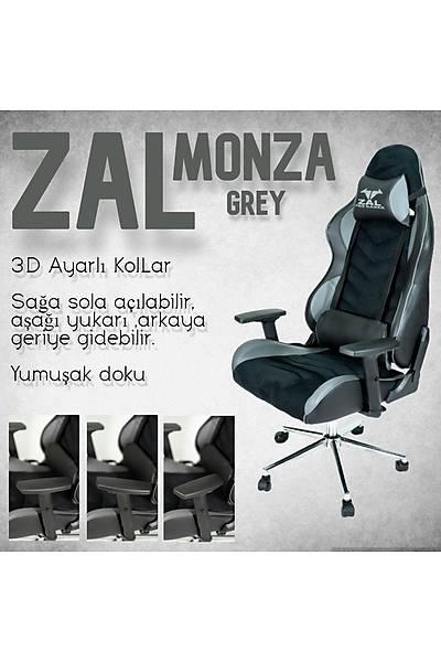 Zal - Monza Grey Pro Gamer Üst Seviye Oyuncu Koltuðu Yarýþ Koltuðu E-Spor Koltuðu