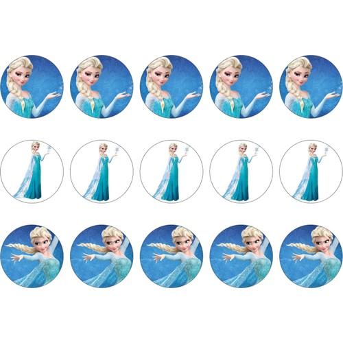 Elsa Karlar Kralicesi Cupcake Kurabiye Ustu Resim
