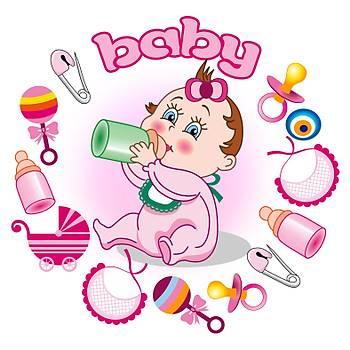 Baby Shower Pembe Pasta Resim