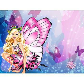 Barbie Kelebek Gofret Plaka Üstüne Resim