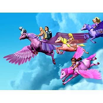 Barbie Gökyüzünde Gofret Plaka Üstüne Resim