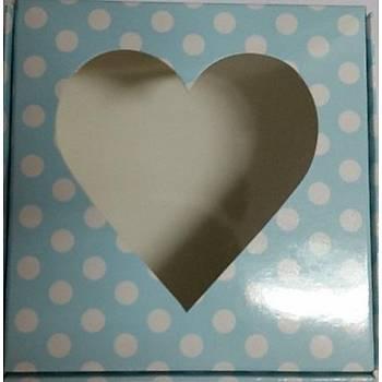 Kalpli Mavi Sabun Kutusu  8 x 8 x3 cm 5 adet