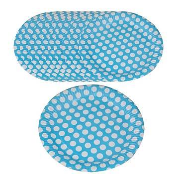 Mavi Puatiyeli Karton Tabak