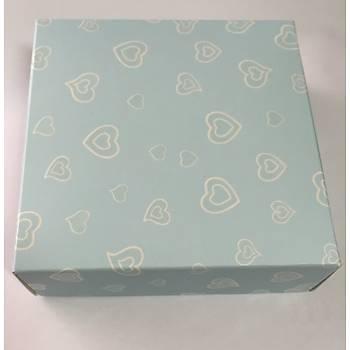 Mavi Kalpli Sabun Kutusu  8 x 8 x3 cm 5 adet