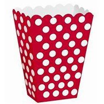 Kýrmýzý  Puantiyeli Popcorn Kutusu 10 lu