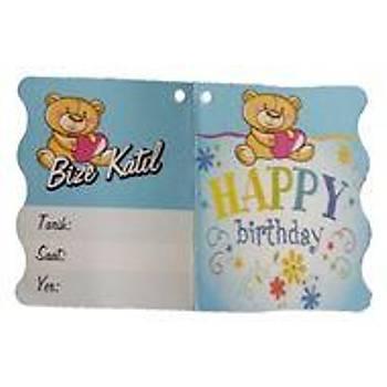 Ayýcýk Happy Birthday Bize Katýl Davetiye 10Ad.