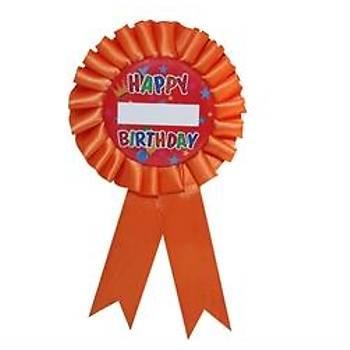 Happy Birthday Turuncu Parti Rozeti