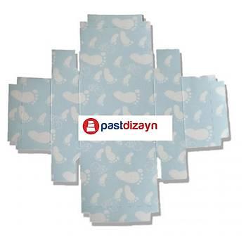 Mavi  Bebek Ayak  Sabun Kutusu  8 x 8 x3 cm 50adet