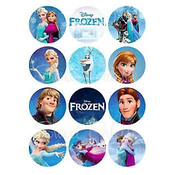Frozen Ailesi Cupcake kurabiye Þekerli Kaðýda Baský
