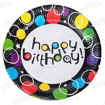 Happy Birthday Siyah Rengarenk  Karton Tabak 23 cm 8 Ad.