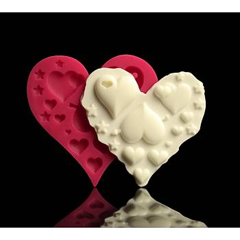Kalp Ýçinde Kalpler Silikon Kalýp