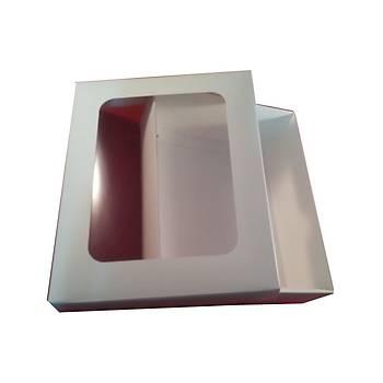 Beyaz Makaron Kurabiye Kutusu 15x12x5cm