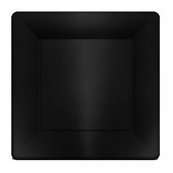 Siyah Metalize Kare Karton Tabak 6 adet