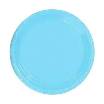 Bebek Mavisi Plastik Tabak 22 cm 10lu