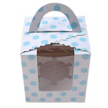Mavi Puantiyeli Tekli Cupcake Kutusu