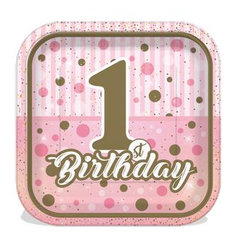 Pýrýltýlý First Birthday Pembe Karton Tabak 8 adet