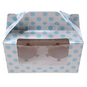 Mavi Puantiyeli 2 Bölmeli Cupcake Kutusu