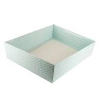 Mavi Puantiyeli Çerçeve Kutusu Karton Kutu  15x 15 x3 cm  5 adet