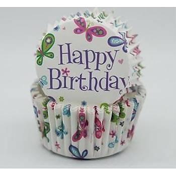 Happy Birthday Kelebekli Muffin Kaðýdý 25 Adet