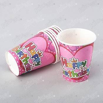Happy Pembe Kalpli Bardak 10 Adet