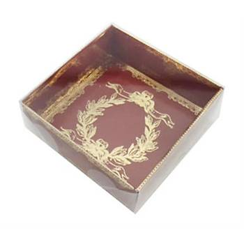 Bordo Karton Altýn Varaklý Sabun Kutusu  8x8x3 cm 5 adet
