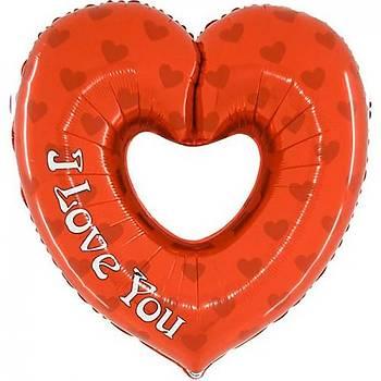 Kýrmýzý I love You Baskýlý Folyo Balon