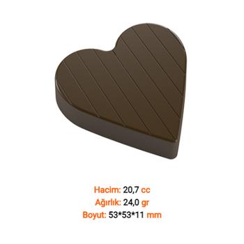 Çizgili Kalp Çikolata Kalýbý