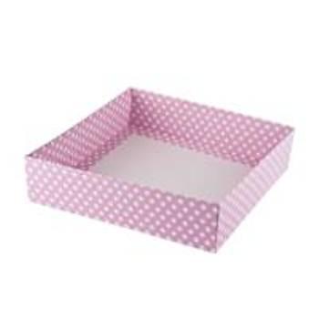 Pembe Puantiyeli Çerçeve Kutusu Karton Kutu  15x 15 x3 cm  5 adet