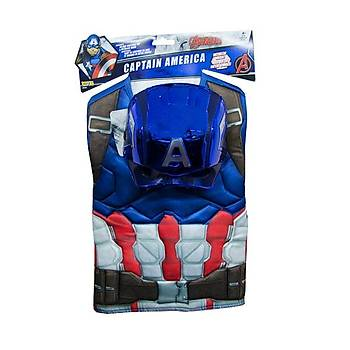 Kaptan Amerika Kostüm Plastik Maskeli