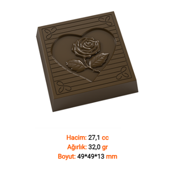 Güllü Kalp Çikolata Kalýbý