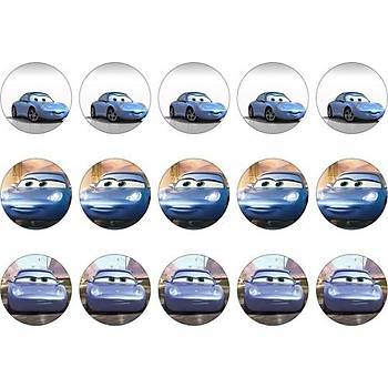 Mavi Cars Cupcake Kurabiye Üstü Resim