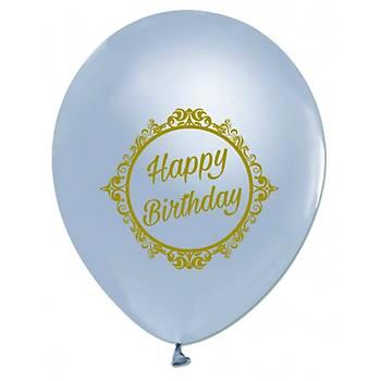 Happy Birthday Baskýlý Silver Gümüþ Balon 5 Ad.