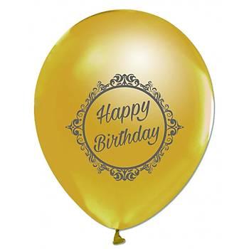 Happy Birthday Baskýlý Gold Balon 5 Ad.