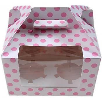 Pembe Puantiyeli 4 Bölmeli Cupcake Kutusu