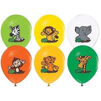 Safari Hayvanlar Baskýlý Latex Balon 5ad