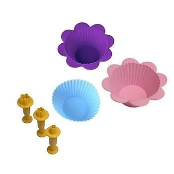 Çiçek Enjektörlü Kalýp Silikon Kek Kalýbý Hediyeli