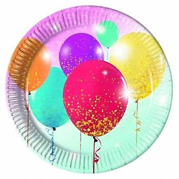 Simli Balonlar Karton Tabak 23 cm 8 Ad.