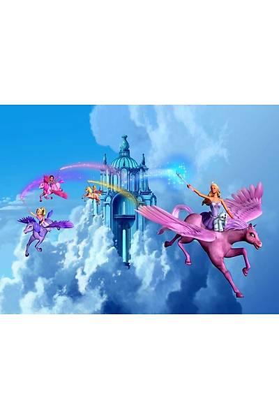 Barbie Gökyüzü Gofret Plaka Üstüne Resim