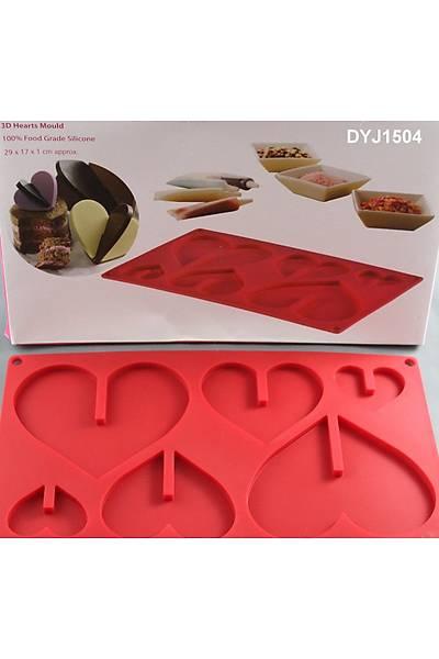 3 Boyutlu Silikon Çikolata Kalp  Kalýbý