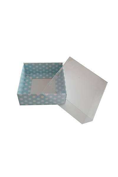 Mavi   Puantiyeli  Karton Kutu  20x 20 x5 cm  1adet