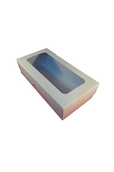 Mavi Makaron Kurabiye Kutusu  20X10X5cm