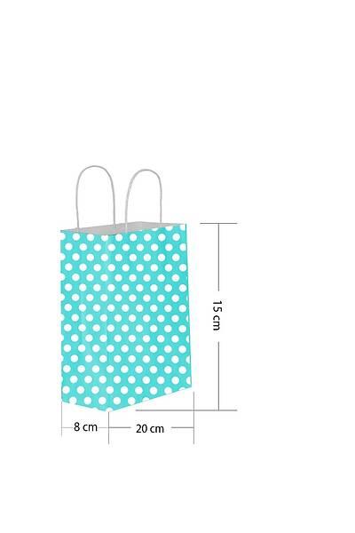 15x20 Büküm Saplı Puantiyeli Kağıt Poşet Mavi