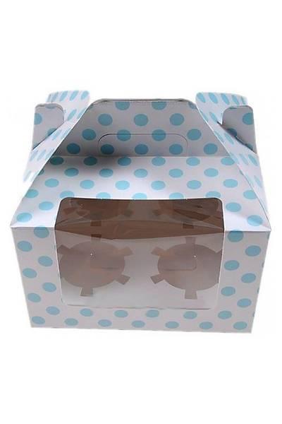 Mavi Puantiyeli 4 Bölmeli Cupcake Kutusu