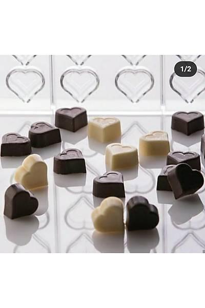 İçiçe Kalp Polikarbon Çikolata Kalıbı