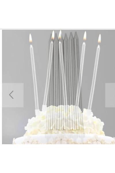 İnce Uzun Gümüş Çubuk Pasta Mumu 6 lı