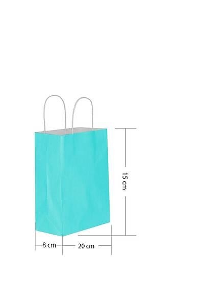 15x20 Büküm Saplı Kağıt Poşet Mavi