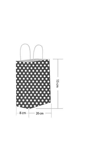 15x20 Büküm Saplı Puantiyeli Kağıt Poşet Siyah